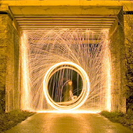 Guadratum by Eddy Maerten - Abstract Light Painting ( fire, action, night photography )