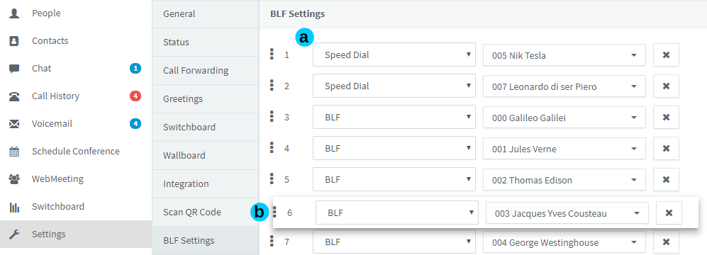 BLF Settings in Web Client