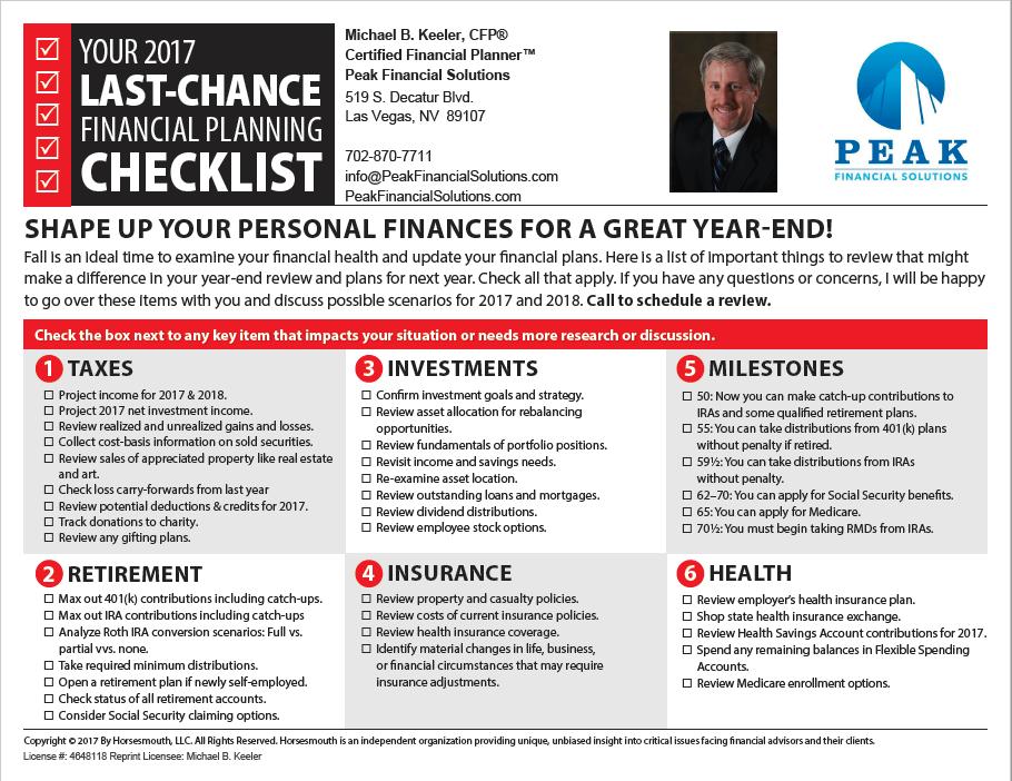 2017 Last Chance Checklist