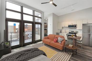 Go to Studio, One Bath with Balcony Floorplan page.