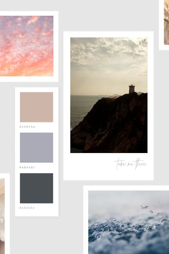 Lighthouse Sky Water - Mood Board Template