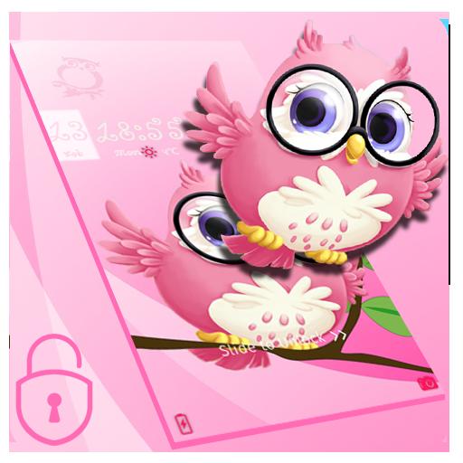 Pink anime cute owl theme