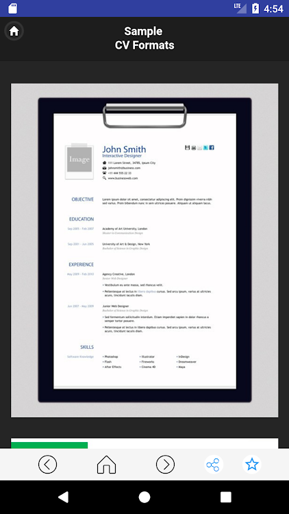Cv Format Example 2019 Android Applications Appagg