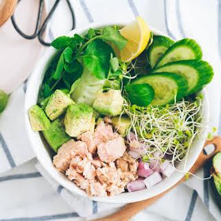 Tuna Avocado and Greens Bowl.