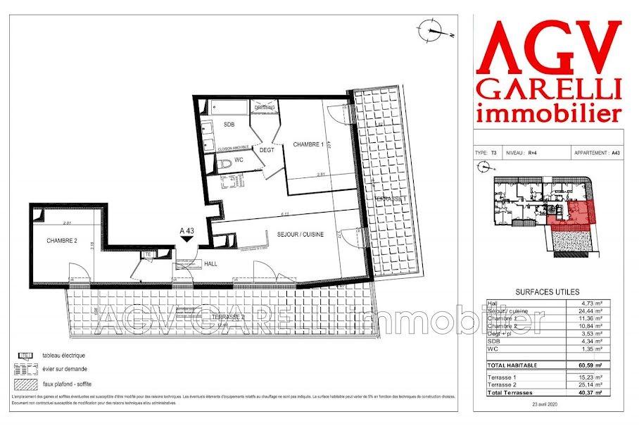 Vente appartement 3 pièces 60.59 m² à Toulon (83000), 285 000 €