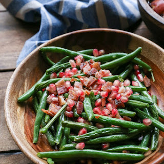 Pan Fried Bacon Green Beans with Pomegranate Seeds.
