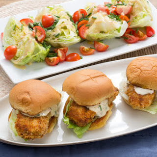 Crispy Cod Sandwiches with Tartar Sauce & Iceberg Wedge Salad.