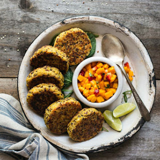 Quinoa Cakes with Chickpeas and Mango Salsa.