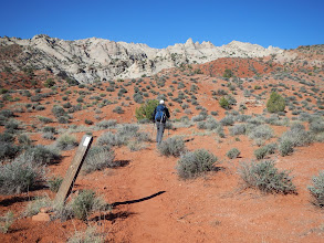 Photo: Aaron heads across the desert to the entrance of Lower Muley Twist Canyon.