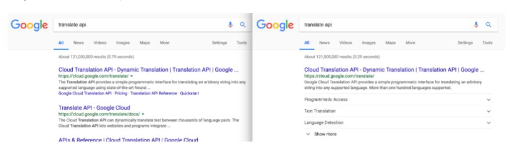 Định dạng mới của Google Sitelinks cho phép hiển thị nhiều nội dung từ trang web
