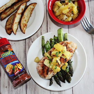 Grilled Chicken with Pineapple Salsa and Asparagus.
