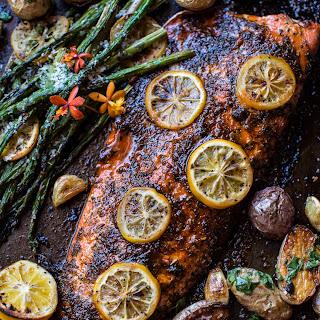 One Pan Lemon Salmon, Roasted Potatoes and Parmesan Asparagus.