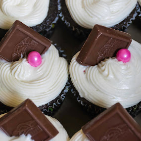 Chocolate/Raspberry Cupcakes! by Nicole Mitchell - Food & Drink Cooking & Baking ( chocolate, cupcakes, frosting, cream cheese, raspberry compote )