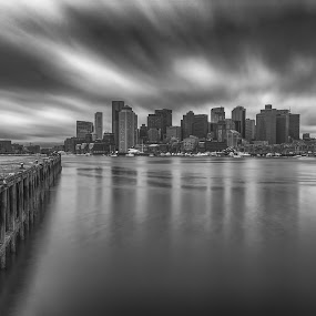 Boston Long Exposure by Paul Gibson - Black & White Buildings & Architecture ( boston, reflections, long exposure, clouds, daytime )