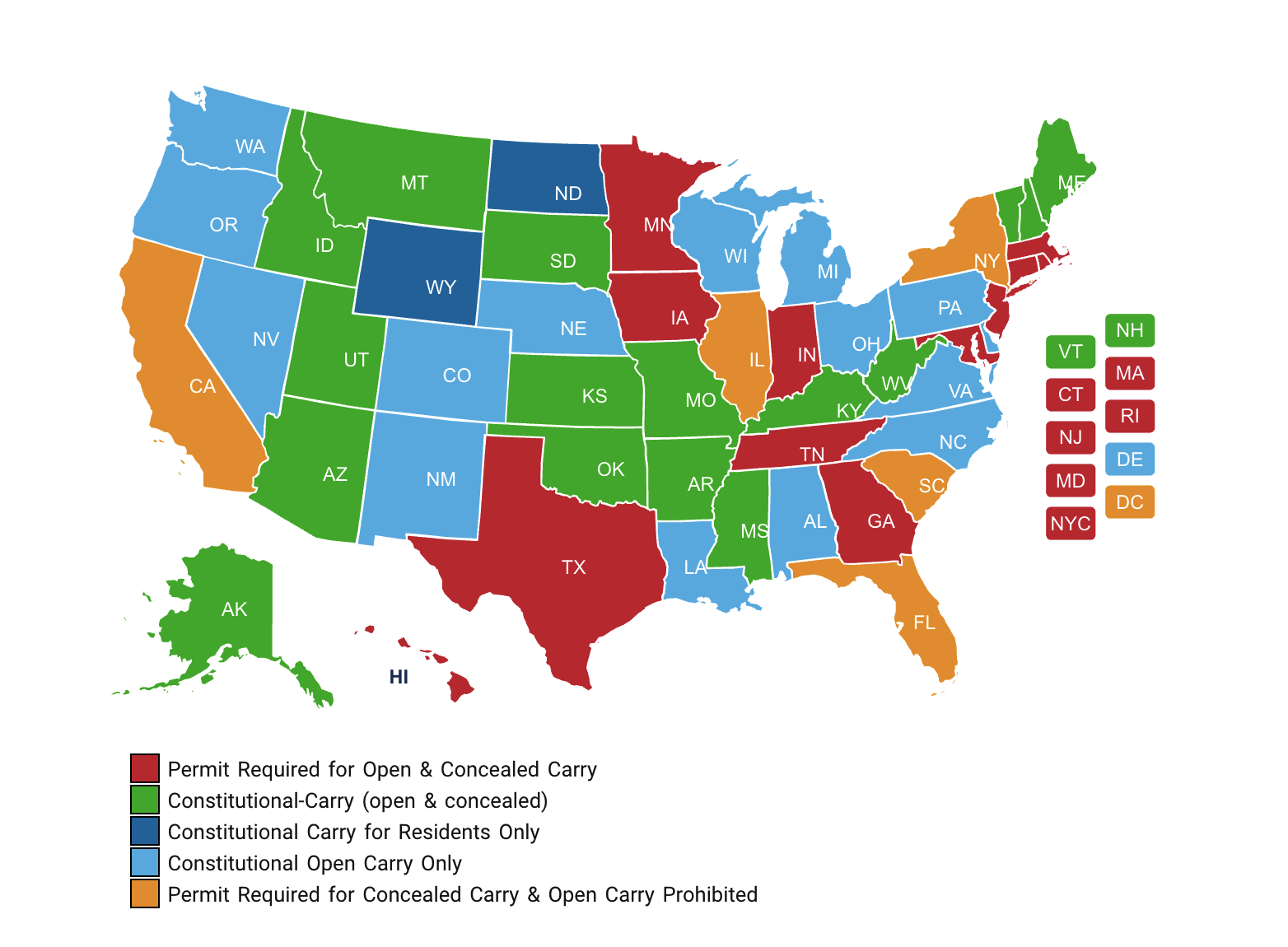 2021 US Concealed/Open Carry Map