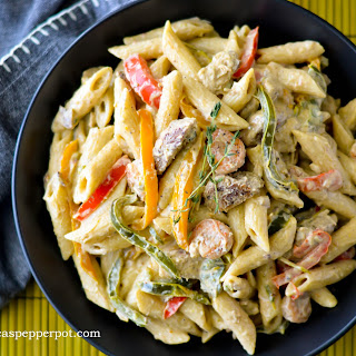Creamy Pasta with Jerk Chicken + Shrimp.