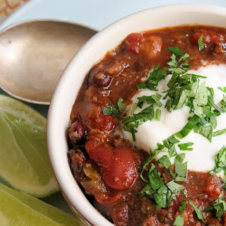 Pressure Cooker Three Bean Vegetarian Chili