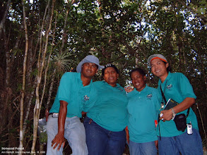 Photo: Ironwood Forest, SE of George Town - Andy, Charmaine, Michelle and Manuel. Photo: Ann Stafford, Grand Cayman, Nov.18, 2003.