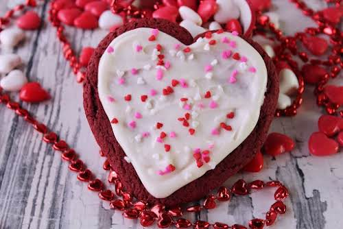 """Red Velvet Heart Cookies """"Most people think of Valentines Day and they..."""