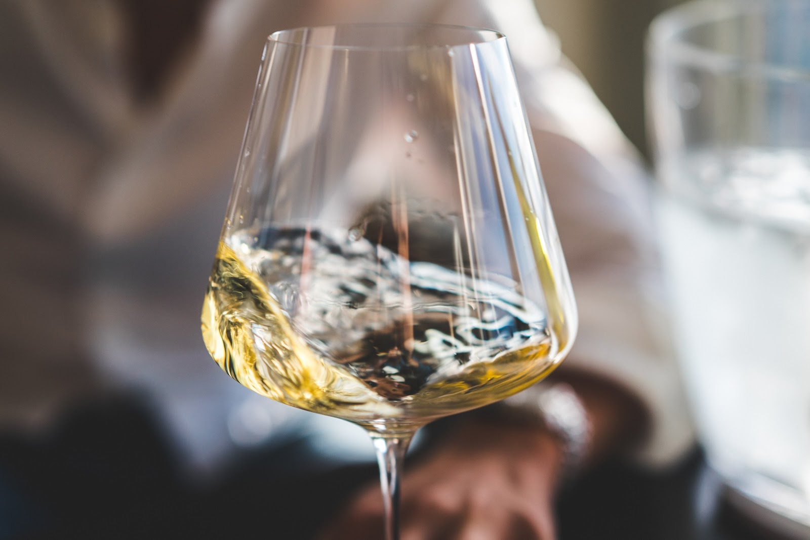 A glass of white wine; wine guide