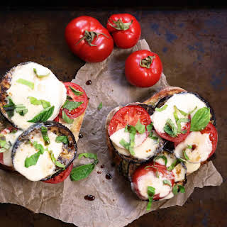 Grilled Eggplant Sandwich with Tomatoes and a Herb Mayo.