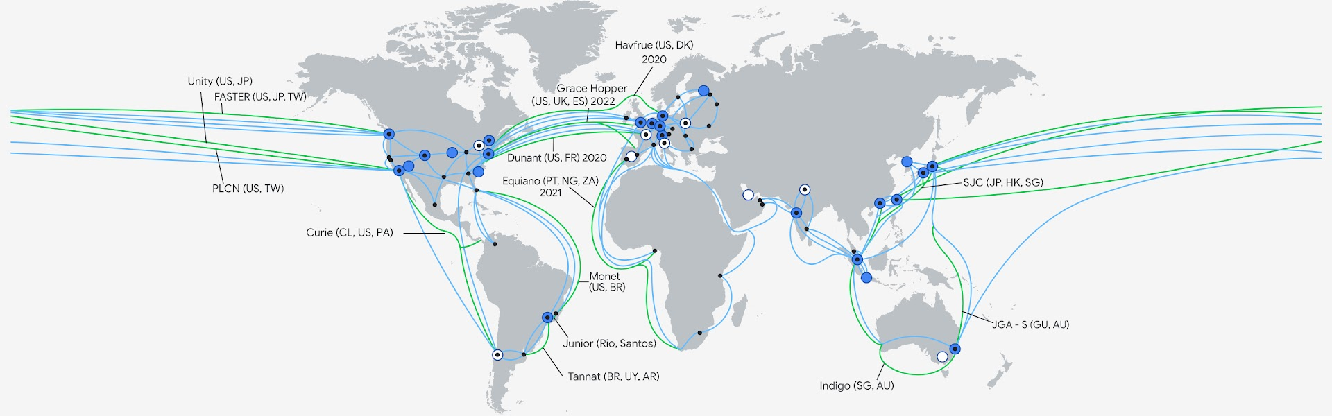 Mapa da infraestrutura do Google Cloud