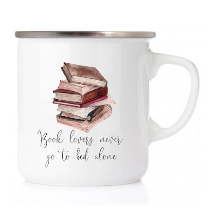 Emaljmugg - Book lovers never go to bed alone