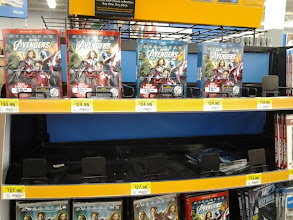 Photo: We thought we weren't going to get the new Avengers Blu-Ray/DVD/Graphic Novel Combo Pack because they were all out at this display! Luckily we ended up finding one.