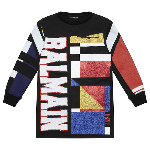 Primary image of Balmain Glittery Sweatshirt Dress
