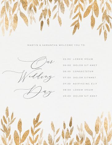 M&S Wedding Day - Planner Template