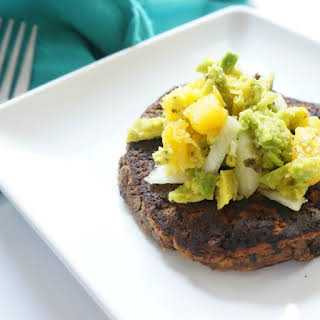 Black Bean and Sweet Potato Burger with Mango Guacamole.