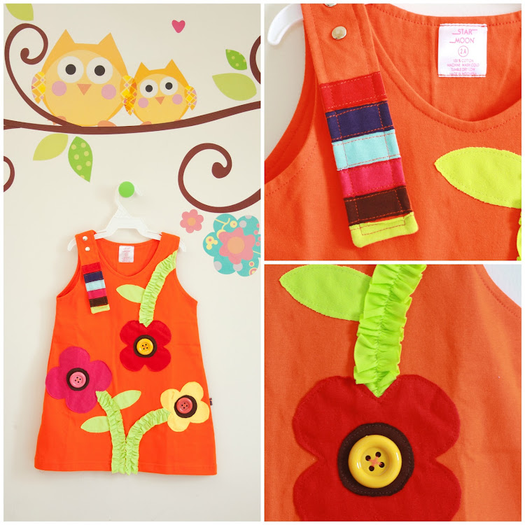 Star Moon Spring Dress in Orange (12 months)