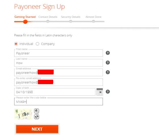 Payoneer Đăng ký Bước đầu tiên