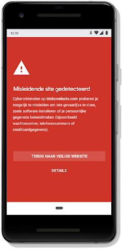 Safe Browsing-melding op een mobiele telefoon