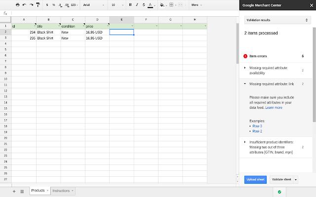 Google Merchant Center - Google Sheets add-on