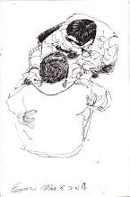 Photo: 檢查腳鐐2012.03.08鋼筆 人犯外醫需釘腳鐐 起程前再檢查一遍 咦~ 阿扁上醫院 不是沒釘鐐? 厚~ 力馬幫幫忙 懶叫比雞腿!