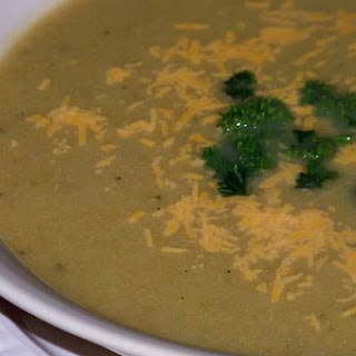 Light Cream Of Broccoli Soup With Cheddar Cheese.