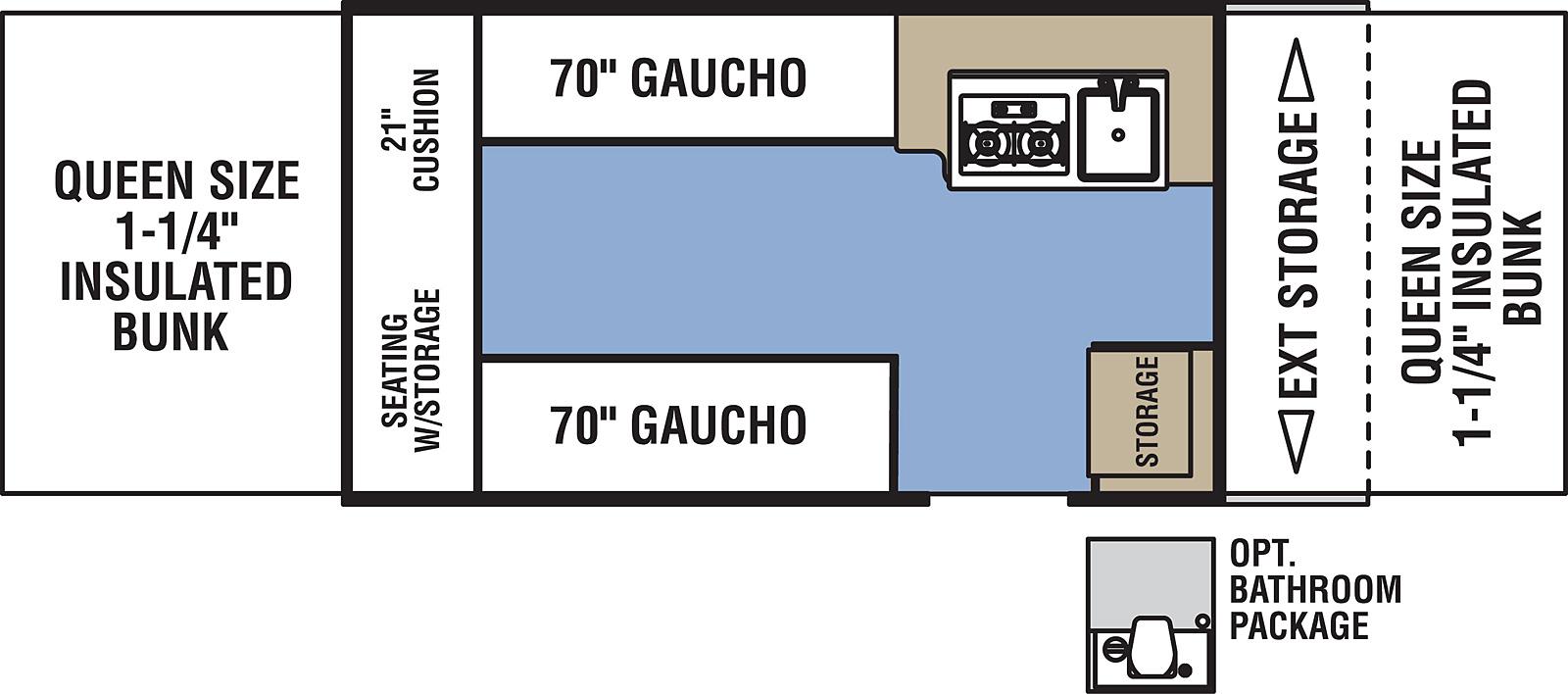 coachmen clipper 128ls with optional bathroom package floor plan