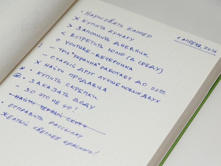 Як виглядає щоденне планування і записи в Bullet Journal