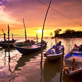 The  by SyaFiq Sha'Rani - Transportation Boats ( yard, waterscape, shipyard, sunset, parit, jetty, boat )