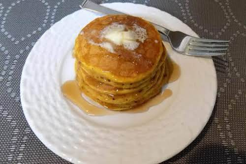 "Spiced Pumpkin Pancakes""What a nice change of pace from your standard pancakes!..."
