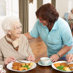 a carer giving an elderly lady food