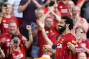Liverpool's Egyptian star forward Mohamed Salah celebrates after scoring in a commanding 3-1 Premier League win over Arsenal at Anfield on August 24 2019.