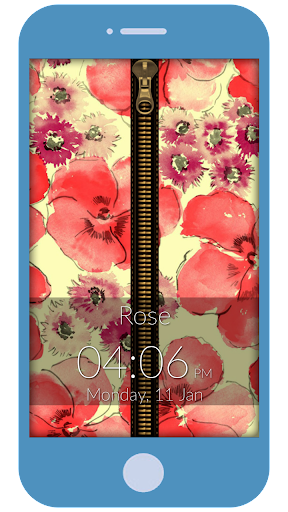 Floral Zipper Lock Screen
