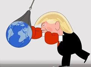 Trump boxt Weltkugel.