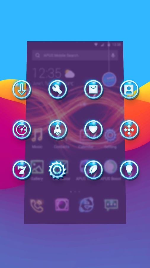 Shine Glitter Neon APUS stylish theme- screenshot