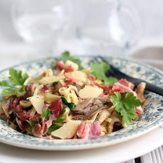 Linguini with Mushrooms, Parmesan and Serrano Ham Recipe