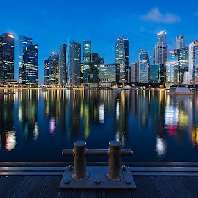 Singapore Skyline by Martin Yon - Landscapes Starscapes ( skyline, marina, singapore )