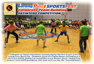 """Photo: Magna Kultura Foundation is the National Organizer of The Filipino Games in the Philippines.  Organizing Larong Pinoy Company Sports Fest for Private corporations is among the cultural entrepreneurship approaches of Magna Kultura to revive the games among Filipino adults who use to play the games; at the same time, an advocacy to revive the Games of Our Heritage (""""Laro ng Lahi"""") back in the mainstream of Philippine society. Letting adults play the games will re-kindle the fun of Larong Pinoy, and open doors to teaching their children to also play the games; thus, making them fellow-advocates in the revival of the games.  For inquiries, Contact DICKIE AGUADO, Executive Director - Magna Kultura Foundation. Email: kulturapilipinas@gmail.com. Tel. No. (632) 514-5868"""