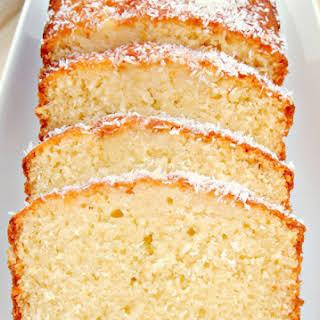 Moist Coconut Pound Loaf Cake.